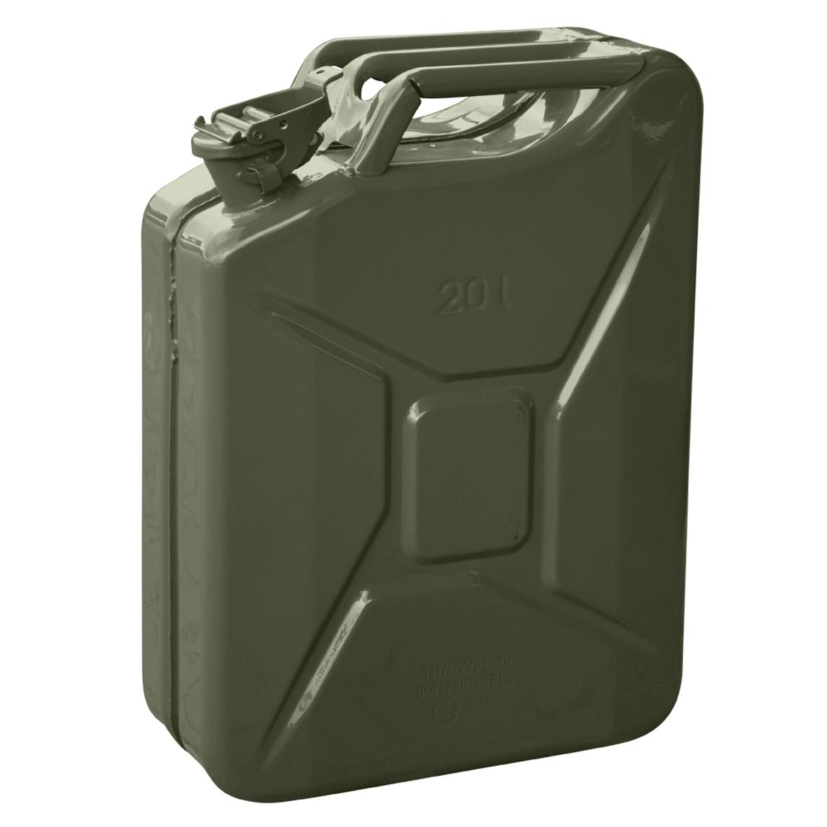 metall benzinkanister un 20 l benzin stahlblech kanister oliv reservekanister ebay. Black Bedroom Furniture Sets. Home Design Ideas