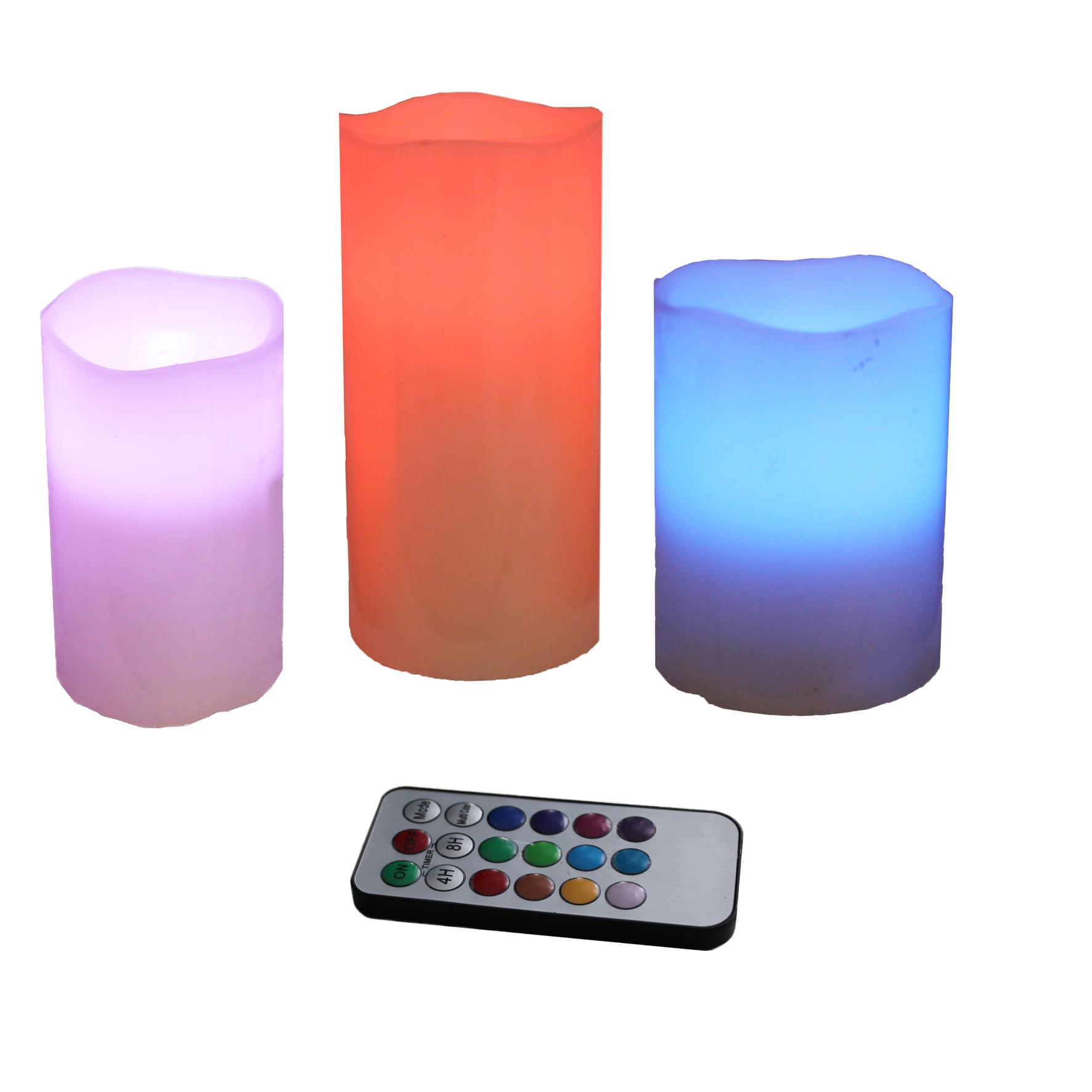 3 led kerzen kerze fernbedienung timer farbwechsel licht flammenlos flackernd ebay. Black Bedroom Furniture Sets. Home Design Ideas
