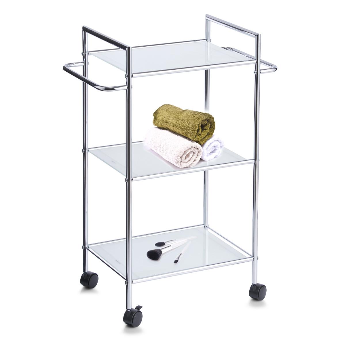 Details zu Zeller Bad Rollwagen Glas Metall Badezimmer Roll Regal Tisch  Beistellwagen Küche