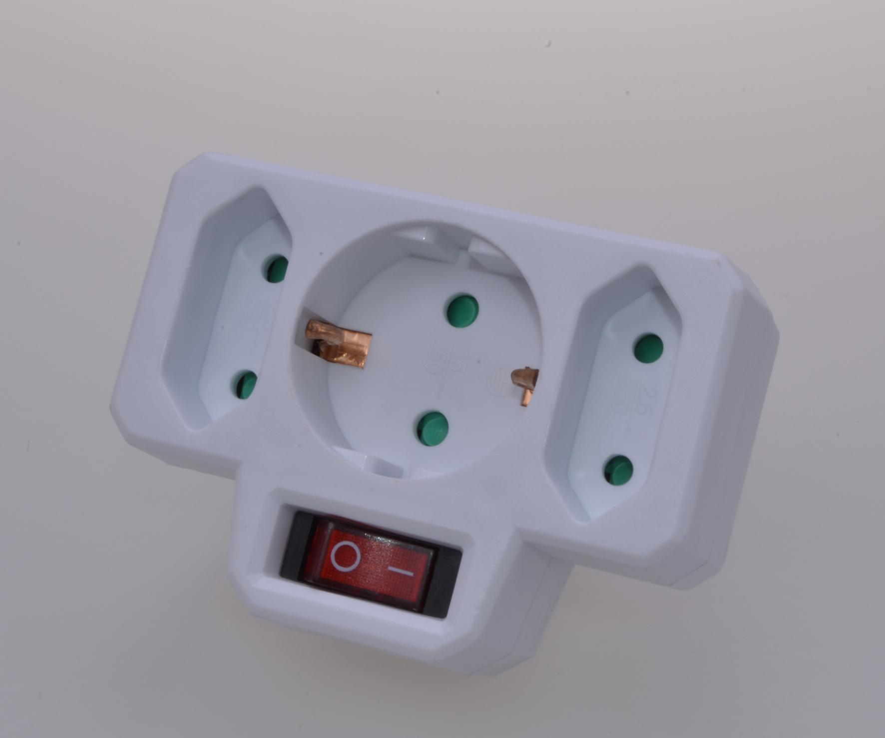 3fach Steckdosen mit Schalter Steckdosenschalter Stecker Euro Steckdosenadapter