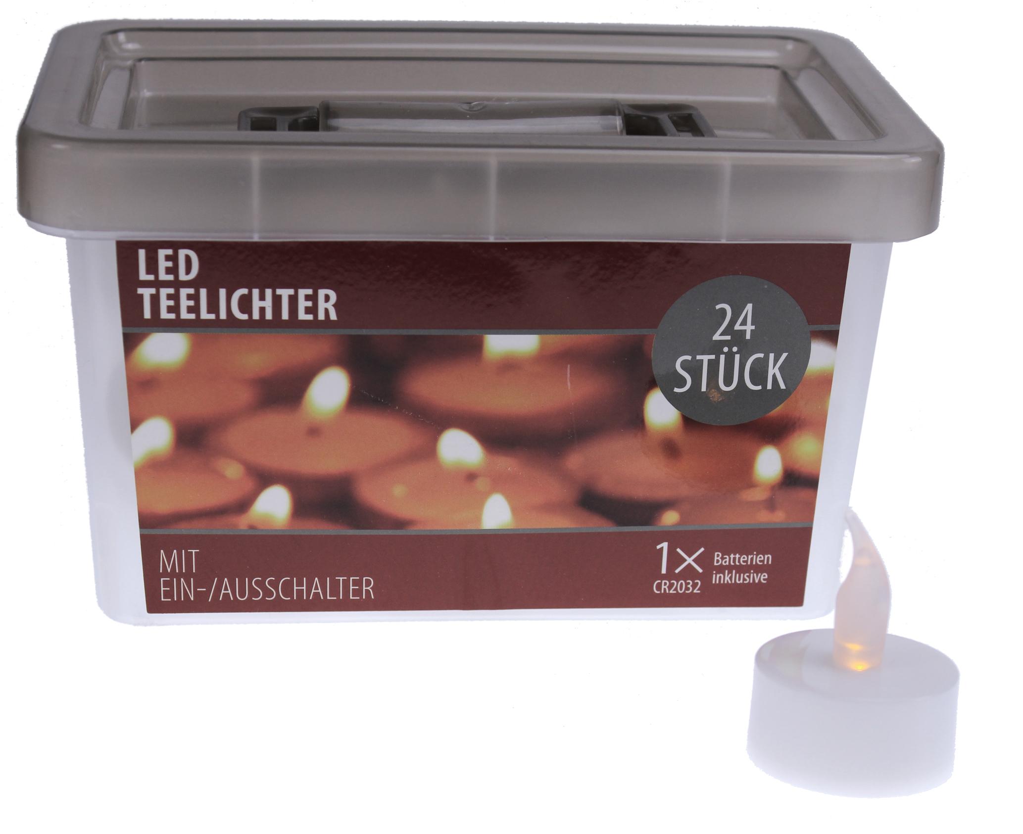 24 led teelichter flackerlicht flackernd flammenlose teelicht kerzen batterie ebay. Black Bedroom Furniture Sets. Home Design Ideas
