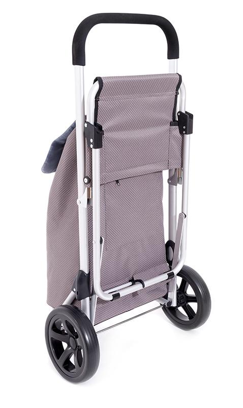 luxus trolley einkaufsroller mit integriertem sitz einkaufswagen aluminium 38 l ebay. Black Bedroom Furniture Sets. Home Design Ideas
