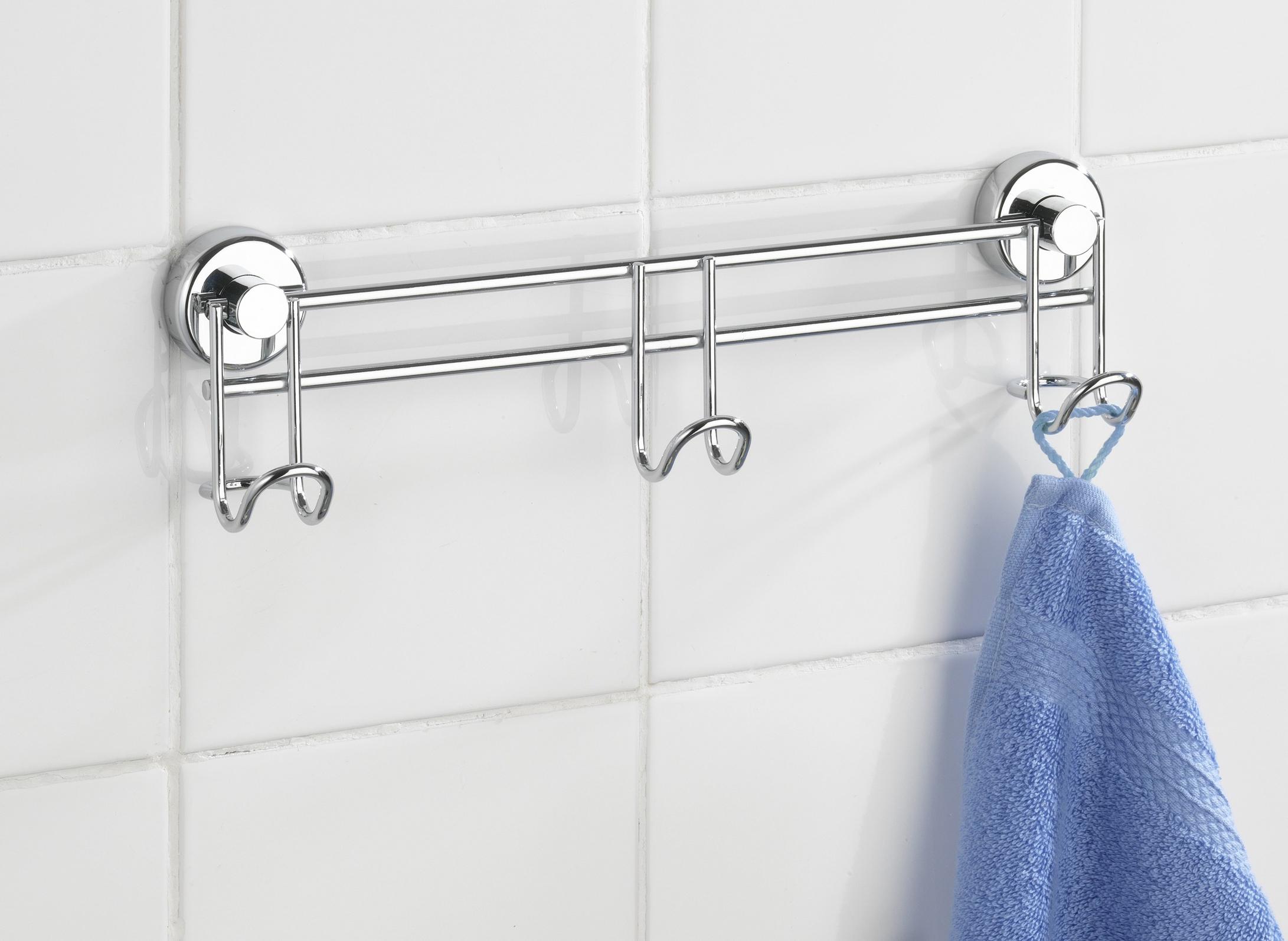WENKO Handtuchhalter mit Haken Leiste Saugnapf Wand Stange