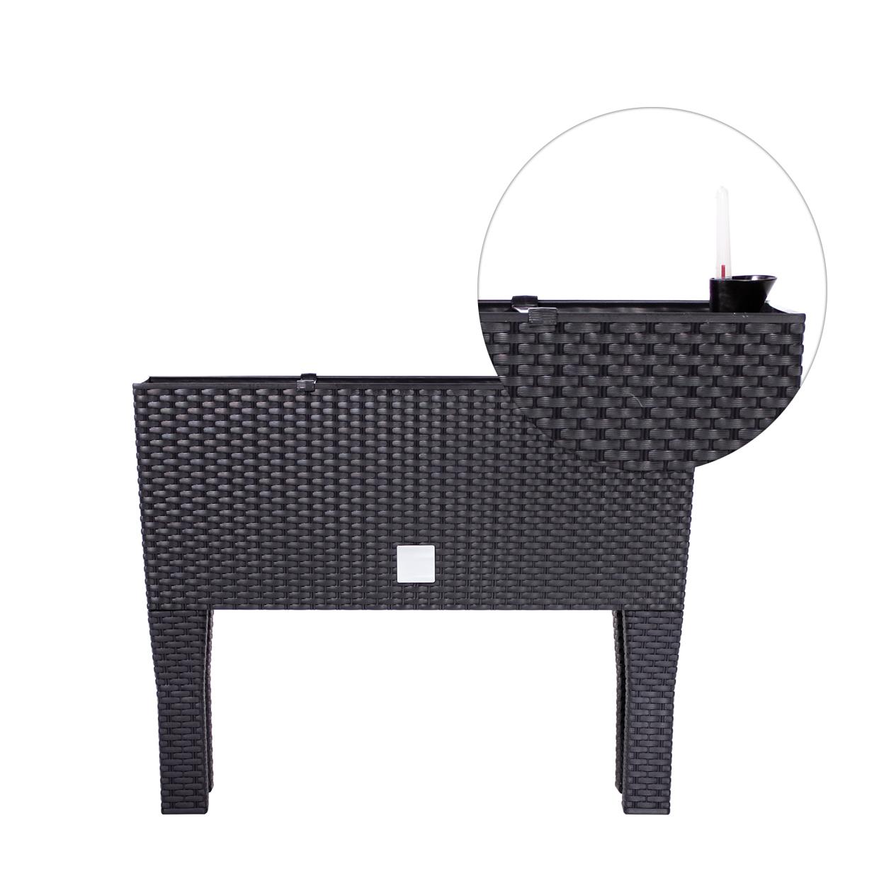 blumenkasten rattan 60cm blumentopf blumenk bel mit beinen bew sserung anthrazit ebay. Black Bedroom Furniture Sets. Home Design Ideas