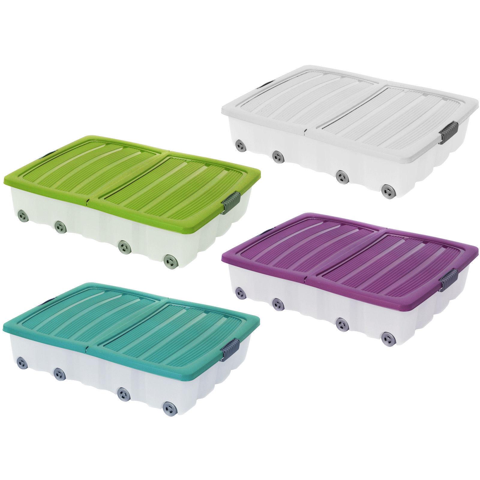 xxl 60 l unterbettkommode unterbettbox rollen box spielzeugkiste rollbox deckel ebay