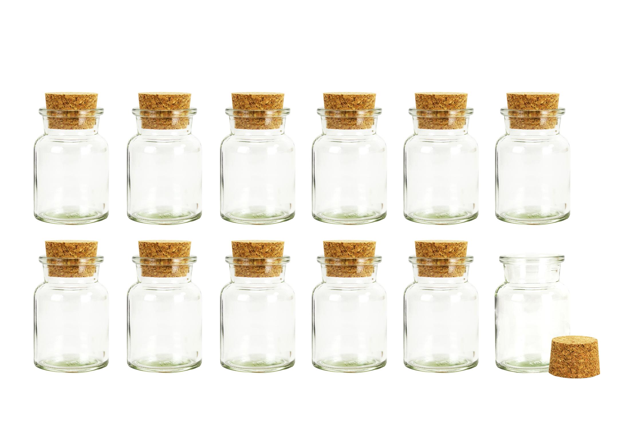 12x Gewürzgläser mit Korken-Deckel Gläser Vorrats Behälter Gewürzdosen Glas 150Q