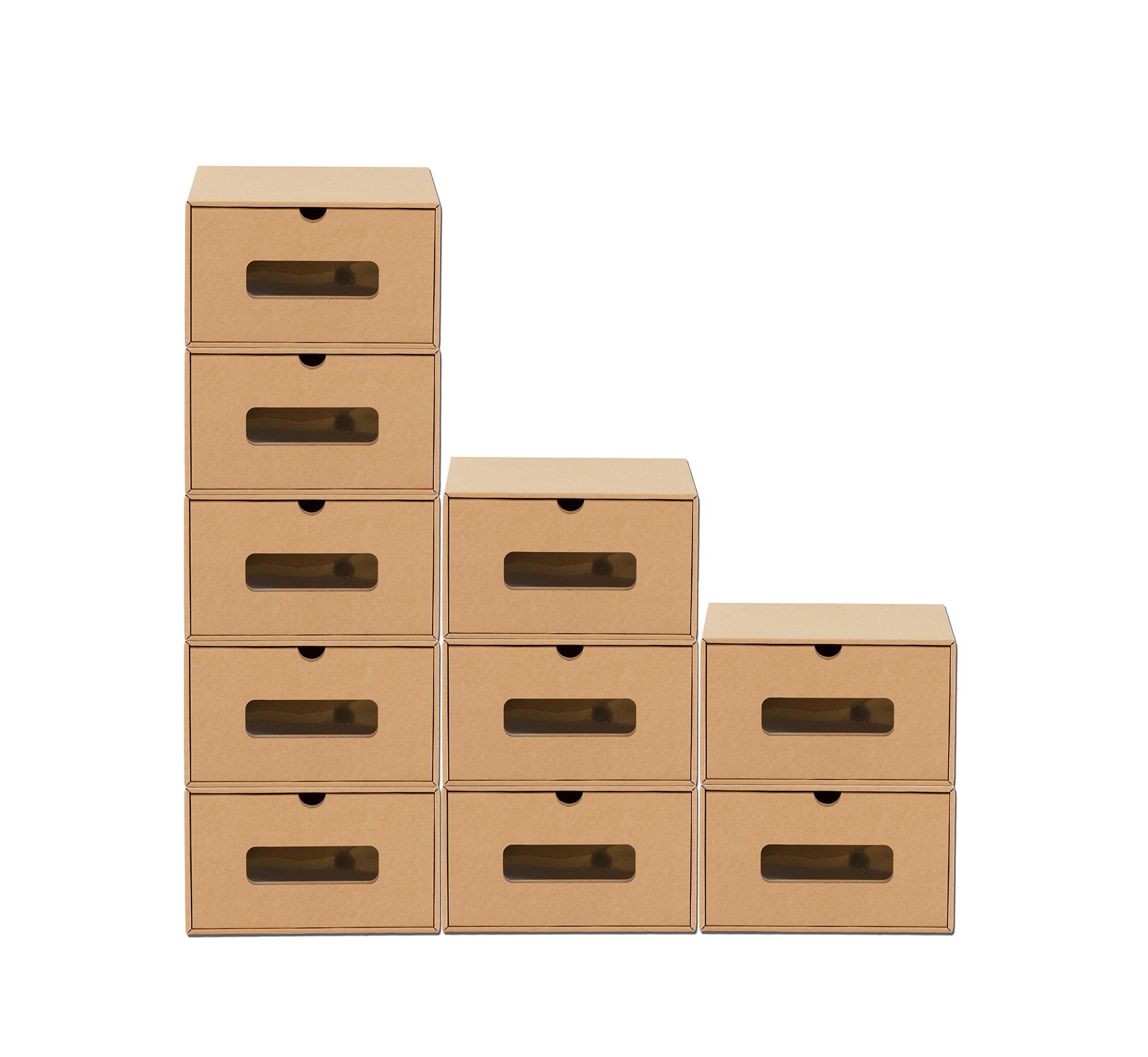 20 Schubladen Boxen mit Fenster Aufbewahrung Schuhe Karton Pappe ...